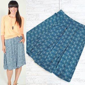 Lularoe Teal Print Madison Pocket Flowy Skirt
